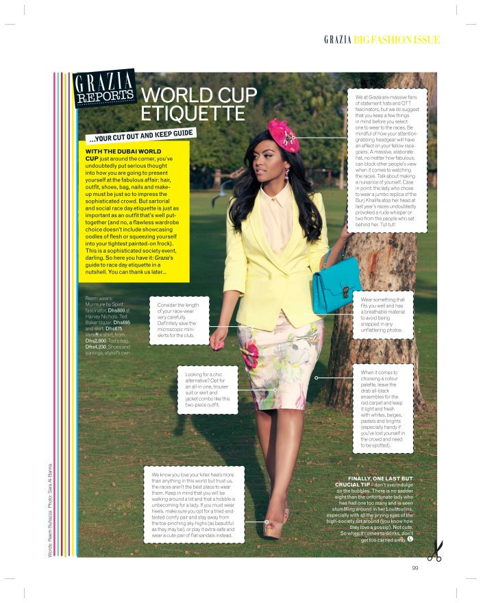 "Reem Buhazza in Grazia ""Horse Races"" February 2013"