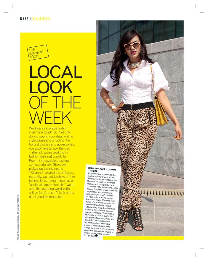 Reem Buhazza in Grazia 'Local Look of the Week'