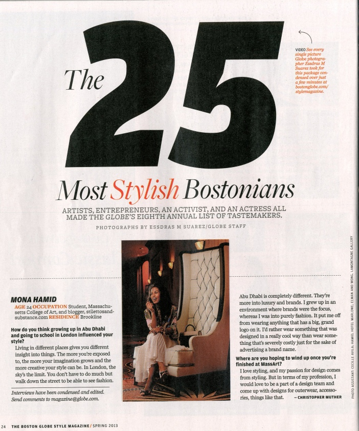 """Mona Hamid in the Boston Globe Magazine's issue of """"The 25 Most Stylish Bostonians"""" March 2013."""
